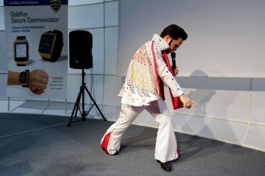 Elvis Impersonator at the GoldKey booth